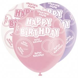 "Happy Birthday Pink & Lilac Balloons - 12"" Latex"