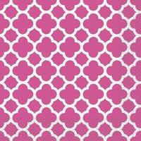 Quatrefoil servetter - Rosa 16 st