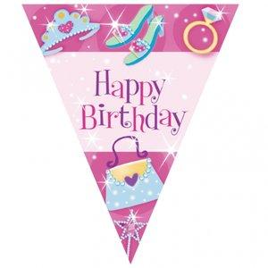 Rosa happy birthday vimplar - plast 3.6m