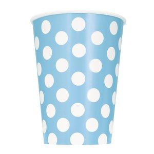 Prickiga pappersmuggar - Ljusblå - 35 cl 6 st
