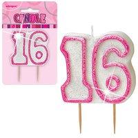 16-års födelsedagsljus - rosa