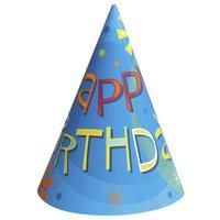 Partyhattar - Happy birthday blå 8 st