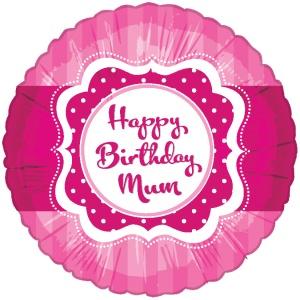 """Rund rosa folieballong """"Happy Birthday Mum"""" - 46 cm"""