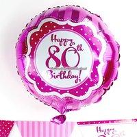 Perfectly pink - rund rosa folieballong till 80-årsdagen - 46 cm