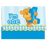 Blå inbjudningskort - I am one - 8 st