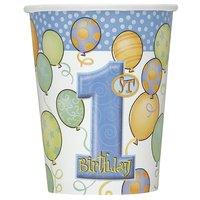 Första födelsedagen blå pappersmuggar 266 ml - 8 st
