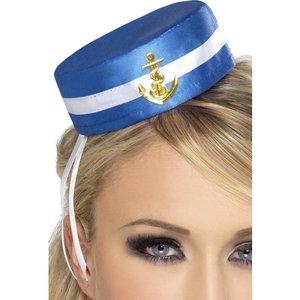 Pillbox sjömans hatt - vit och blå