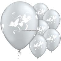 Kärleksduvor eleganta bröllopsballonger - 28 cm latex - 25 st