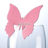 Fjärils- placeringskort till glas - rosa - 10 st