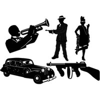Gangster siluetter 1920-talsfest - 5 st
