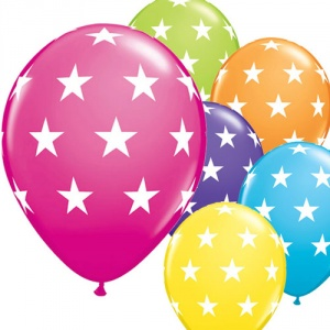 Flerfärgade ballonger - Stora stjärnor - 28 cm latex - 6 st
