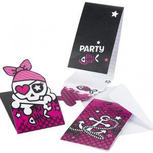 Rosa pirat inbjudningskort - 6 st