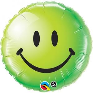 Rund grön folieballong Smileymärke - 46 cm